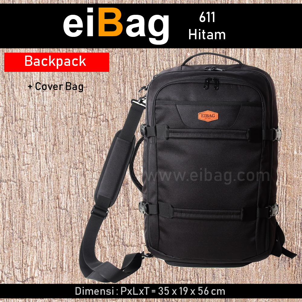 Tas Travel Bag Multifungsi - 3 in 1 - EIBAG 611 HITAM + Cover Bag